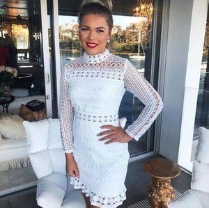 FOR LOVE AND LEMONS White Lace Crochet Trim Dress